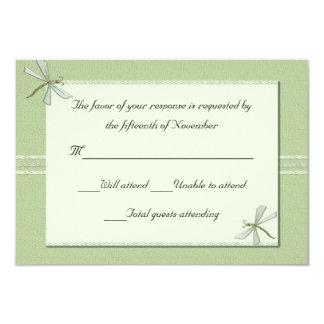 Green dragonflies Wedding Response Card Custom Invitations
