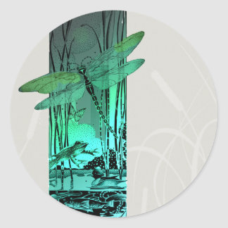 Green Dragonfly and Frog in the Pond Classic Round Sticker