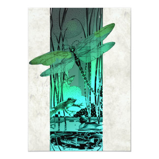 Green Dragonfly and Frog in the Pond Invitation