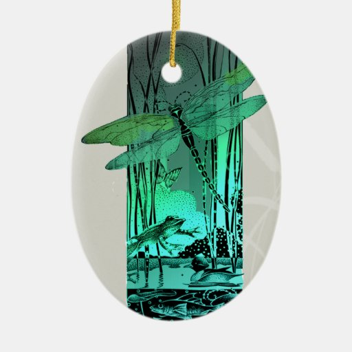 Green dragonfly and frog in the pond christmas tree ornament zazzle Pond ornaments