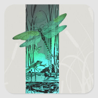 Green Dragonfly and Frog in the Pond Square Sticker