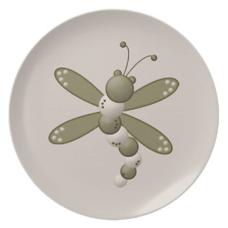 Green Dragonfly Dinner Plate