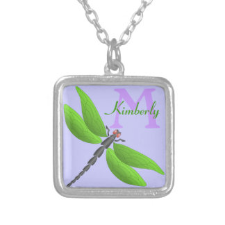 Green Dragonfly,  monogram Square Pendant Necklace