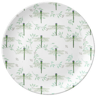 Green Dragonfly Pattern Dinner Plate