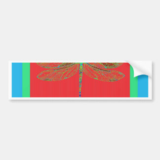 Green Dragonfly -Rouge Red Gifts by Sharles Bumper Stickers