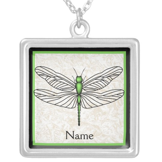 Green Dragonfly Silver Plated Necklace