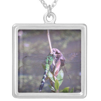 Green Dragonfly Square Pendant Necklace