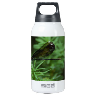 Green Dragonfly with Spotted Wing Insulated Water Bottle