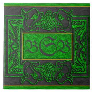 """Green Dragons Breath"" 3 Initial Monogram Tile"