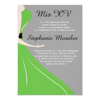 Green Dress Silhouette Quinceanera Invitation