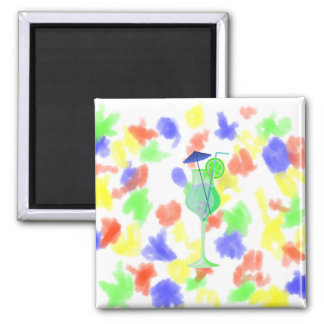 green drink glass w blue umbrella beach graphic.pn 2 inch square magnet