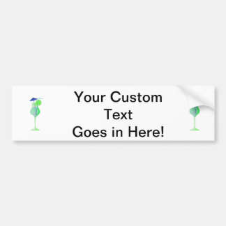 green drink glass w blue umbrella beach graphic.pn bumper sticker