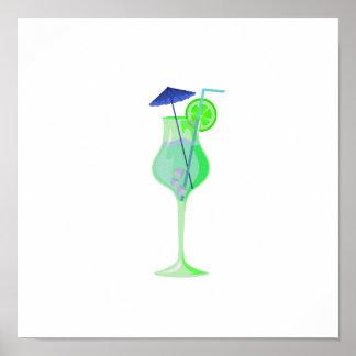 green drink glass w blue umbrella beach graphic.pn poster