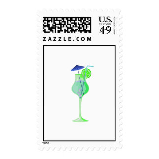 green drink glass w blue umbrella beach graphic.pn stamps