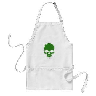 Green Dripping Splatter Skull Adult Apron