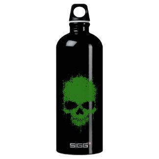 Green Dripping Splatter Skull Water Bottle