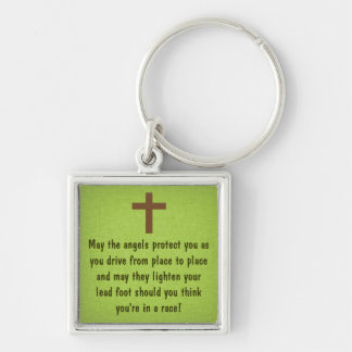 Green Driver's Prayer Blessing Keychain