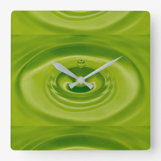 green drop square wall clock