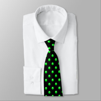 Green droplet/button dot design tie