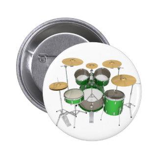 Green Drum Kit: Pinback Button
