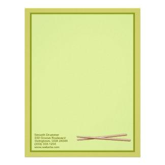 Green Drumsticks Customized Drummer Letterhead