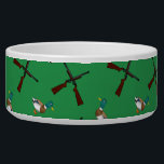 """Green duck hunting pattern bowl<br><div class=""""desc"""">Modern and trendy sports green duck hunting pattern with mallard ducks and rifles background. Sports gift ideas for men and boys and girls. Ideal for birthdays.</div>"""