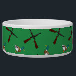 "Green duck hunting pattern bowl<br><div class=""desc"">Modern and trendy sports green duck hunting pattern with mallard ducks and rifles background. Sports gift ideas for men and boys and girls. Ideal for birthdays.</div>"