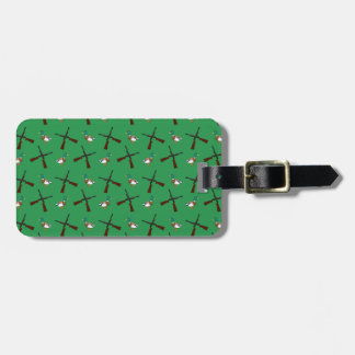 Green duck hunting pattern travel bag tag