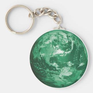 green earth basic round button keychain