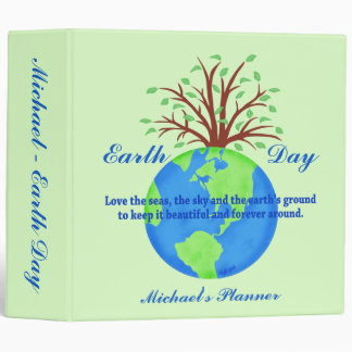 Green Earth Day Poem Globe Tree Name Personalized 3 Ring Binder