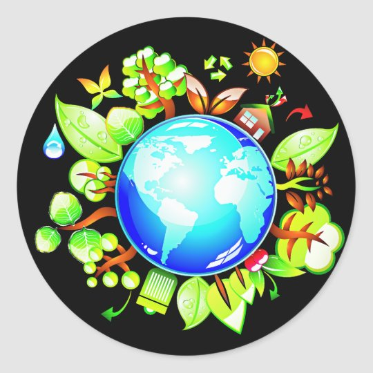 Green Earth Eco Friendly for Earth Day Classic Round Sticker