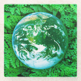 Green Earth - ecological awareness Glass Coaster