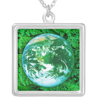 Green Earth - ecological awareness Silver Plated Necklace