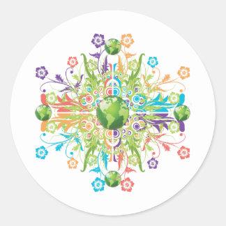 Green Earth Flower Classic Round Sticker