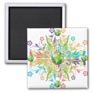 Green Earth Flower Magnet