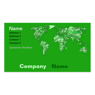 Green earth map business card template