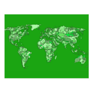 Green earth map post card