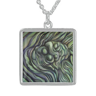 Green earth necklace abstract painting