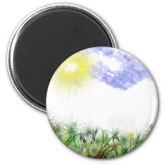 Green Earth Rays 2 Inch Round Magnet