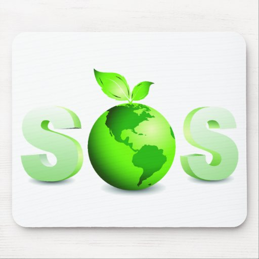 Green Earth SOS Earth Day Message Mouse Pad