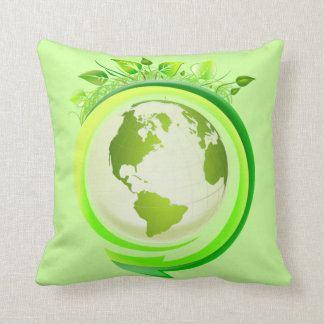 Green earth square pillow