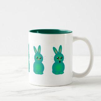 Green Easter Bunnies Two-Tone Coffee Mug