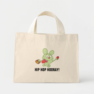 Green Easter Bunny Carrying Colorful Easter Eggs Mini Tote Bag