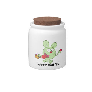 Green Easter Bunny Carrying Colorful Easter Eggs Candy Jar