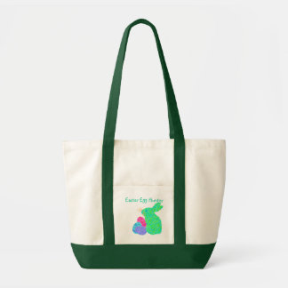 Green Easter Bunny Easter Egg Hunter Canvas Tote Impulse Tote Bag