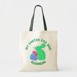 Green Easter Bunny Easter Eggs Colorful Rabbit Fun Budget Tote Bag