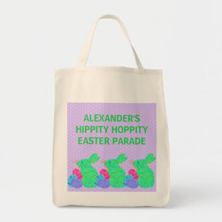 Green Easter Bunny Easter Eggs Colorful Rabbit Fun Grocery Tote Bag
