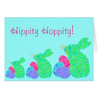Green Easter Bunny Hippity Hoppity Art Note Card