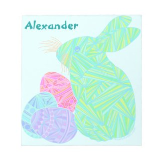 Green Easter Bunny Personalized Mini Scratch Pad