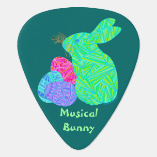 Green Easter Bunny Rabbit Musical Bunny Musician Guitar Pick